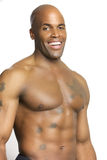 Young Attractive Man With No Shirt Isolated. Portrait of a Young Attractive African American Man Isolated on white Royalty Free Stock Image
