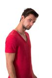 Young attractive man in red t-shirt Stock Photos