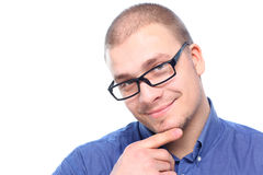 Young  attractive man smiling. Young  attractive man  smiling in black eyeglasses  isolated on white background with copy space Stock Photos