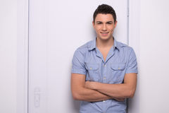 Young attractive man standing straight. Royalty Free Stock Image