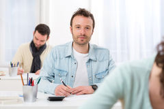 Young attractive man taking exams Royalty Free Stock Photo