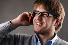 Young attractive man talking Royalty Free Stock Images