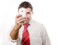 Young Attractive Man talking on the phone Royalty Free Stock Image