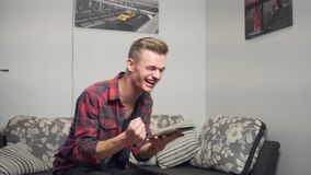 Young Attractive Man Use Tablet Computer stock video footage