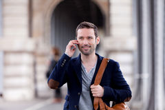 Young attractive man using smartphone in Paris Stock Photo