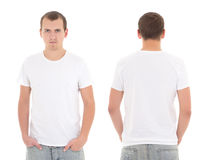 Young attractive man in white t-shirt isolated. On white background stock photos