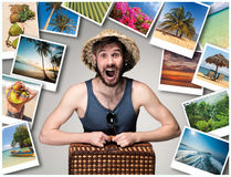 Young, attractive man wtih suitcase ready to travel as tourist on gray background. Collage Royalty Free Stock Photo
