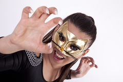 Young attractive masked woman Stock Photos