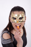 Young attractive masked woman Stock Photo