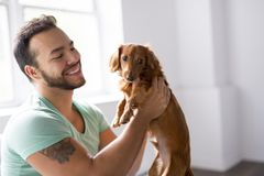 Young mexican man at home sitting on couch with dog stock photo