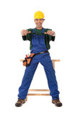 Young attractive Nepalese carpenter Stock Photo