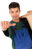 Young attractive Nepalese carpenter Stock Photography