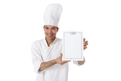 Young attractive nepalese man chef, menu Royalty Free Stock Image