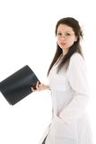 The young attractive nurse with a folder isolated Royalty Free Stock Photography