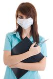 The young attractive nurse with a folder isolated Stock Photos