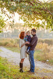 Young Attractive Parents and Child Portrait Royalty Free Stock Photography