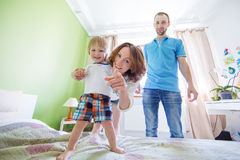 Young Attractive Parents and Child Portrait Royalty Free Stock Image