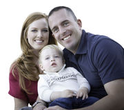 Young Attractive Parents With Toddler Son Portrait on White Stock Photo