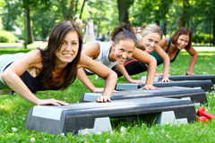 Young and attractive people doing fitness Stock Photo