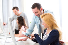 Young attractive people taking a training course Stock Photo