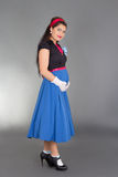 Young beautiful pregnant woman in retro clothes Royalty Free Stock Photos