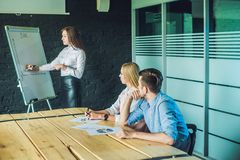 Young, attractive professionals having business training stock photo