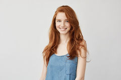 Young attractive redhead girl smiling looking at camera. Royalty Free Stock Images