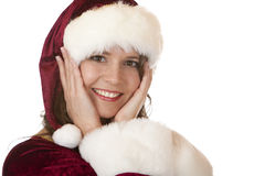 Young attractive Santa Claus woman on Christmas Royalty Free Stock Photography