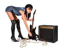 Young attractive sexy girl with rock guitar Royalty Free Stock Images