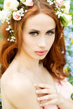 Young attractive girl on a sunny day of flowering with flowers in red hair Stock Image