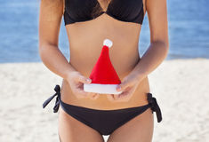 Young, attractive, slender girl in a black bathing suit holding small hat Santa Claus. Stock Photo