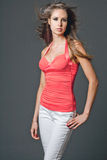 Young attractive slim fashion model. Stock Images