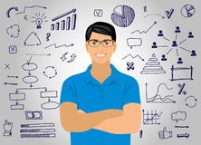 Young attractive smiling man with glasses against the background of the graphic elements. Symbols, circle, scribbling, select the footage items, arrows Royalty Free Stock Photography