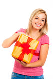 Young attractive smiling woman with gift Stock Photo