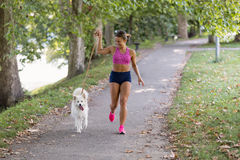 Young attractive sport girl running with dog in park Stock Photography