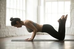 Young Attractive Sporty Woman Doing Warming Up, Loft Studio Back Stock Photo