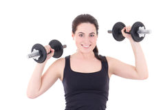 Young attractive sporty woman with dumbbells isolated on white Stock Photo
