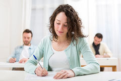 Young attractive student during lessons at school Stock Photography