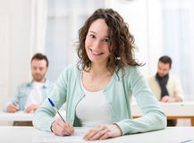 Young attractive student during lessons at school Stock Image