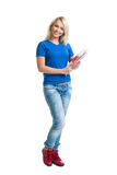 Young and attractive teenage schoolgirl isolated on white Stock Photos
