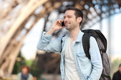 Young attractive tourist phoning in Paris Royalty Free Stock Photos