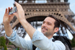 Young attractive tourist taking selfie in Paris Stock Photo