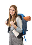 Young attractive tourist woman smiling happy carrying backpack and city map on holidays tourism concept Stock Photo