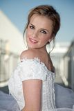 Young attractive twenties caucasian bride Stock Photos