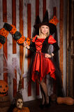 Young attractive witch in costume with broom Royalty Free Stock Photography