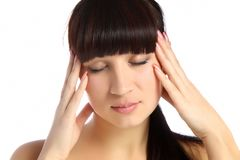 Young attractive woman with an awful migraine Royalty Free Stock Photo