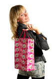 Young attractive woman with bags after shopping Stock Photos
