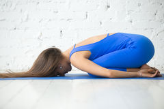 Young attractive woman in Balasana pose, white studio background Stock Photography