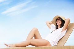 Young attractive woman on beach Royalty Free Stock Image