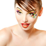Young attractive woman with beautiful art cube abstract make-up Stock Photos